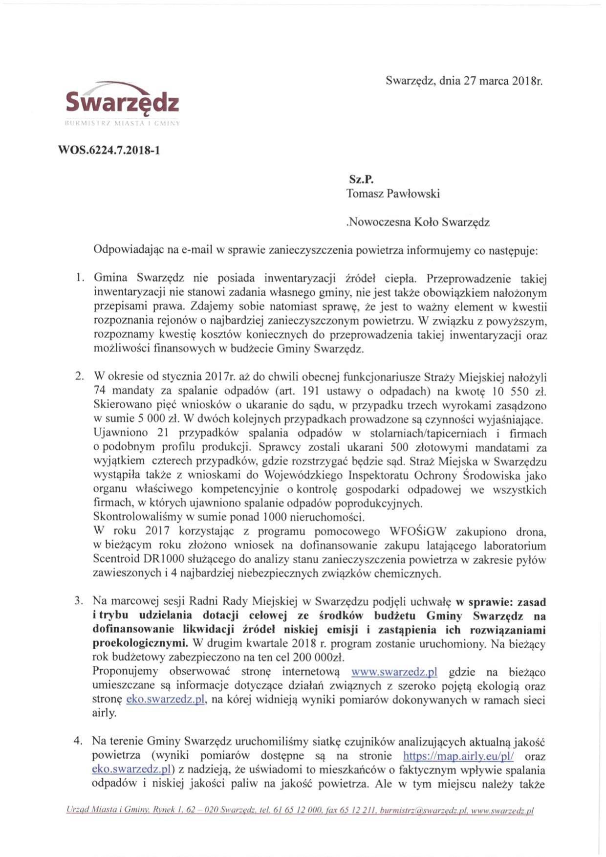 Zbiorcza informacja o działaniach UMiG Swarzędz